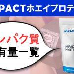 マイプロテイン IMPACTホエイプロテイン タンパク質の含有量一覧